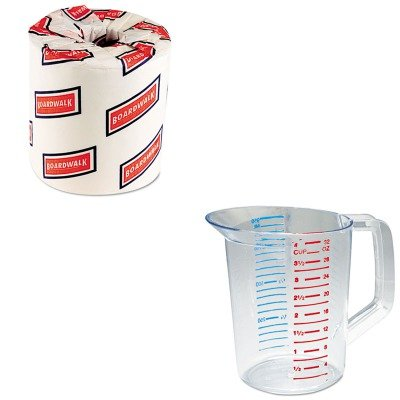 KITBWK6180RCP3216CLE - Value Kit - Rubbermaid-Clear Bouncer Measuring Cups 1 Quart (RCP3216CLE) and White 2-Ply Toilet Tissue, 4.5quot; x 3quot; Sheet Size (1 Quart Bouncer)