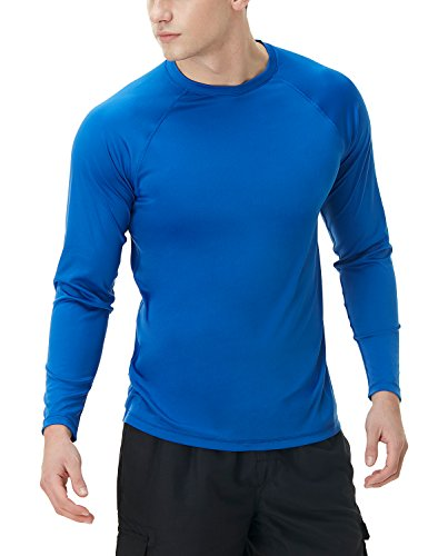 (TSLA TM-MSS03-RED_Small Men's UPF 50+Swim Shirt Loose-Fit Swim Long Sleeve Tee Rashguard Top)