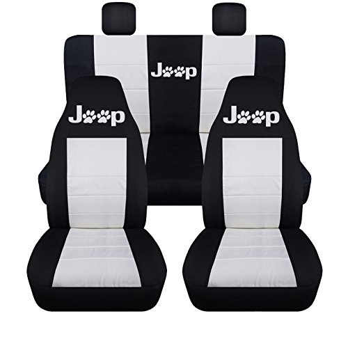 Designcovers Front and Rear 2005 to 2007 Jeep Liberty Jeep Paw Print Seat Covers 40-60 Rear (Front Molded Headrest, Black White)