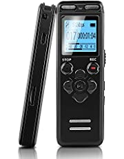 Digital Voice Recorder, BOJECHER 8GB Dictaphone Voice Recorder with Dual Microphones, TF Card Expansion, MP3 Player, Voice Activated Recorder for Lectures Support Telephone Recording