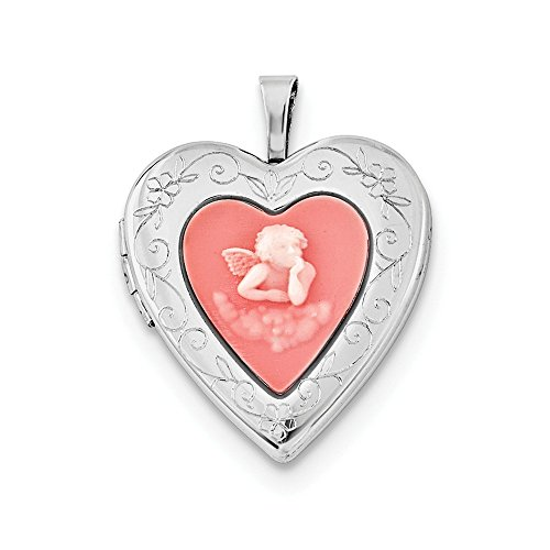 Jewel Tie Sterling Silver Heart 20mm Pink Simulated Agate Angel Cameo Locket