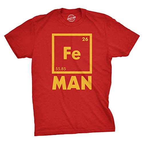 Mens Iron Man Science T Shirt Cool Novelty Funny Superhero Tee for Guys (Red) - L