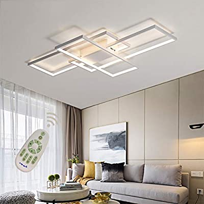 Led Modern Ceiling Light Flush Mount Square Fixture Living Room Lamp Dimmable With Remote Control Acrylic Shade White Chandelier Pendant Lighting For Dining Room Bedroom Bathroom Kitchen Restroom Amazon Com