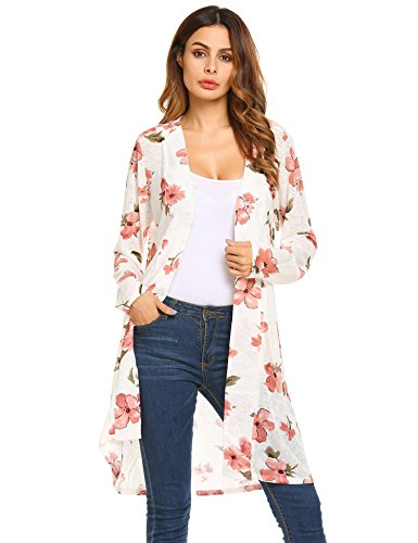 Zeagoo Women's Printed Lightweight Open Front Long Cardigan Soft Tunic Sweater White L