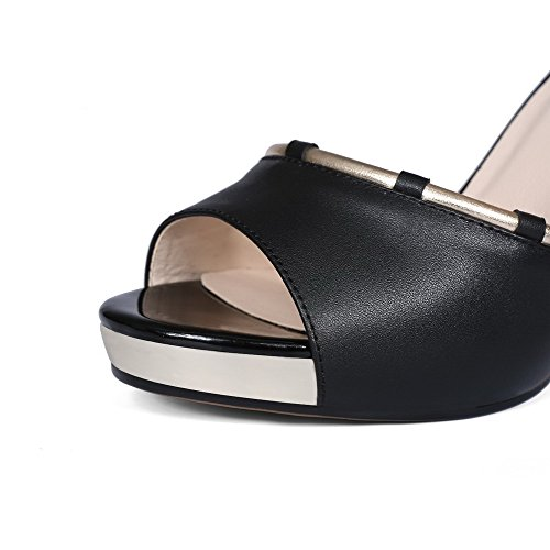 Sandali Con Fibbia Peep-toe In Pelle Di Vitello Assortiti Color Antracite Nero