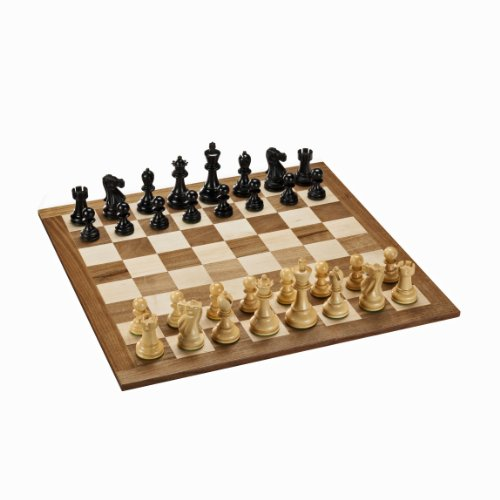 Kari Wood Chess Pieces - WE Games Staunton Chess Set - Black Stained/Natural Weighted Pieces & Solid Wood Board 18 in. (Made in USA)