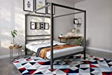DHP Modern Canopy Bed Frame, Classic Design, Queen Size, Grey