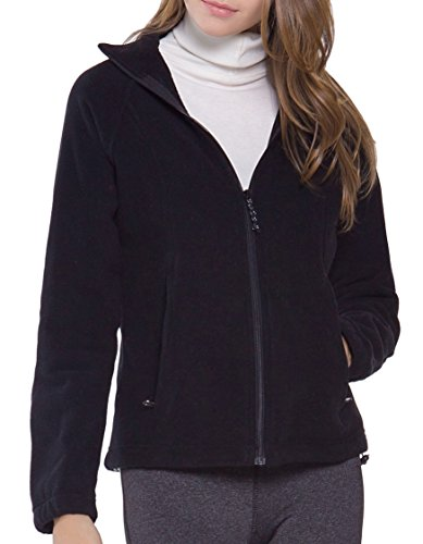 Polar Fleece Zip Jacket (Women's Full-Zip Polar Sport Fall Winter Spring Fleece Jacket Black L)
