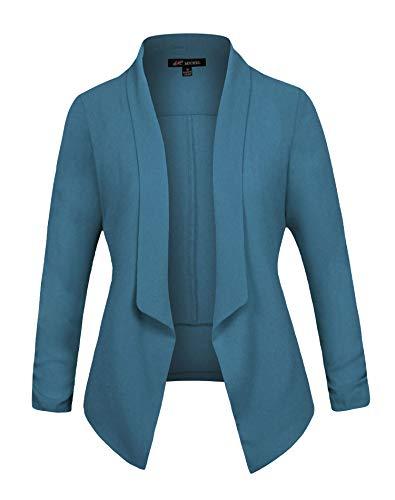 Michel Women's 3/4 Sleeve Blazer Light Weight Chiffon Casual Open Front Cardigan Jacket Work Office Blazer Denim XXX-Large