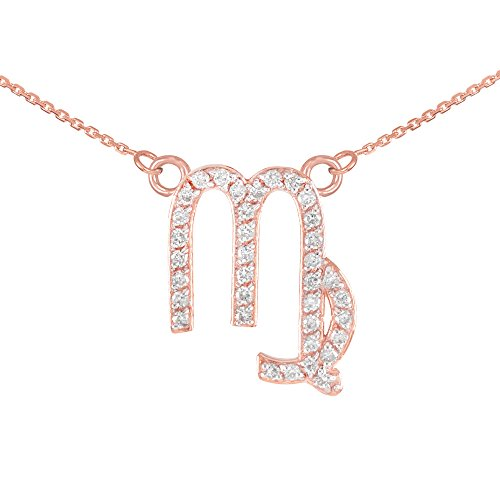Collier Femme Pendentif 14 ct Or Rose Vierge Signe Du Zodiaque Diamant (Livré avec une 45cm Chaîne)