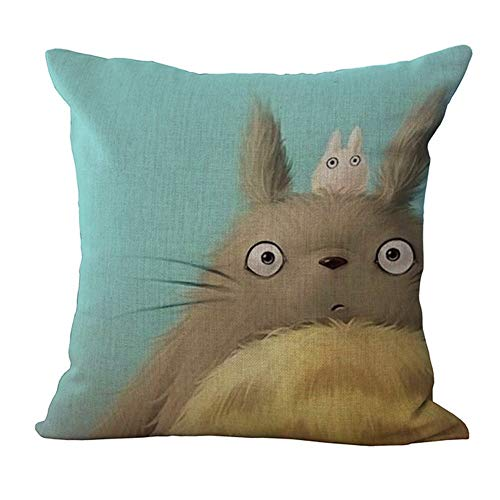 HomeTaste Cute Totoro Decorative Linen Throw Pillow Cover 18x18