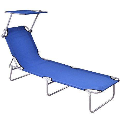 Giantex Folding Lounge Chair Relaxer Bed with Sun Shade Outdoor Portable Recliner w/Adjustable Reclining Positions Garden Beach Patio Pool Seat (Navy) by Giantex