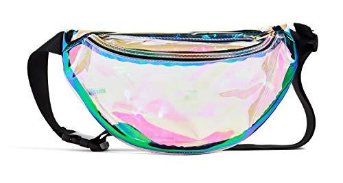 (Women Girl Holographic Fanny Pack 80s 90s Shiny Neon Waist Bag, Fashion Rave Bum Bag with Adjustable Belt Transparent)