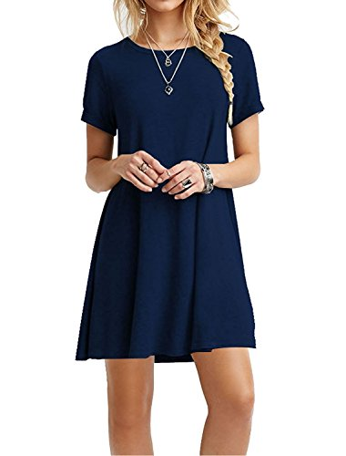MOLERANI Women's Casual Plain Short Sleeve Simple T-Shirt Loose Dress Navy Blue L