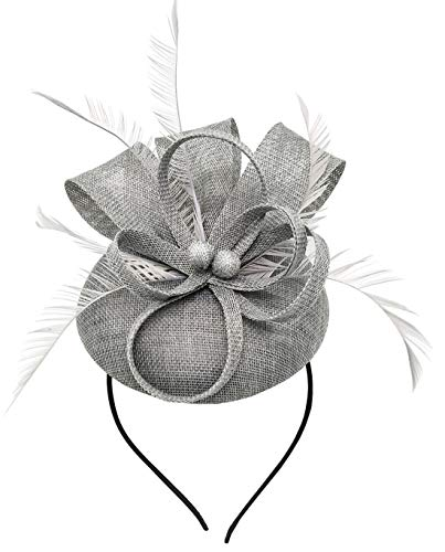 (Biruil Women's Fascinator Hat Imitation Sinamay Feather Tea Party Pillbox Flower Derby (Grey/Gray))