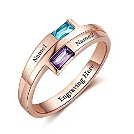 Fortheday Personalized Mother Daughter Rings Promise Rings for Her Mother Rings with 2 Birthstone Rings Anniversary Rings for Women