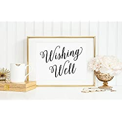 Wedding Wishing Well Sign, Wedding Wishing Well Wedding, Well Wishes for the Bride and Groom Sign, Wishes Cards and Gifts Sign, Your Choice of Size and Color Print Sign (UNFRAMED)