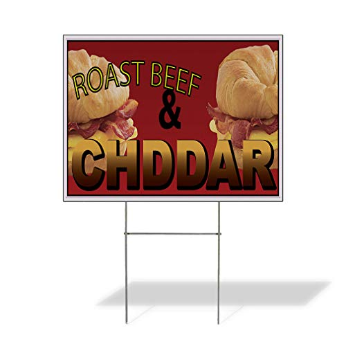 Plastic Weatherproof Yard Sign Sandwich Roast Beef & Cheddar Restaurant Cafe Bar One Side 18inx12in