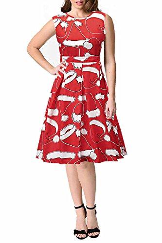 AEETE Damen Kleid Red Cap Print