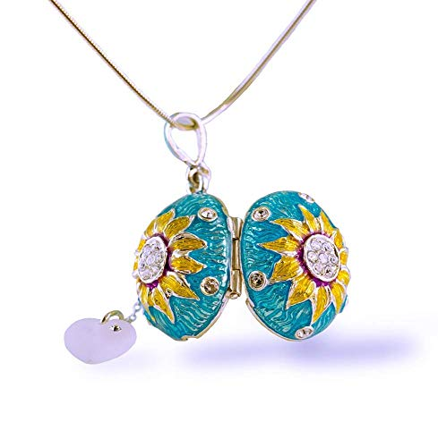 Sky Blue Locket Sunflower Pendant Crystal Heart Charm Gold Blossom Jewelry Necklace Sterling Silver Egg Pendant Enamel Jewelry Gift for Her - Sterling Guilloche