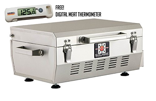 Solaire Stainless Steel Portable Grill - Solaire SOL-EV17A Everywhere Portable Infrared Propane Gas Grill With FREE Digital Meat Thermometer, Stainless Steel