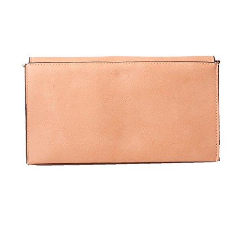 Accessoryo - Dame-Pfirsichumschlag-Handtasche mit goldener runder Klipp