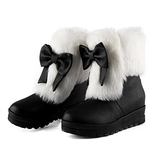 Pull Round Solid On WeenFashion PU Boots Black Kitten Toe Closed Women's Heels wpXZq7U