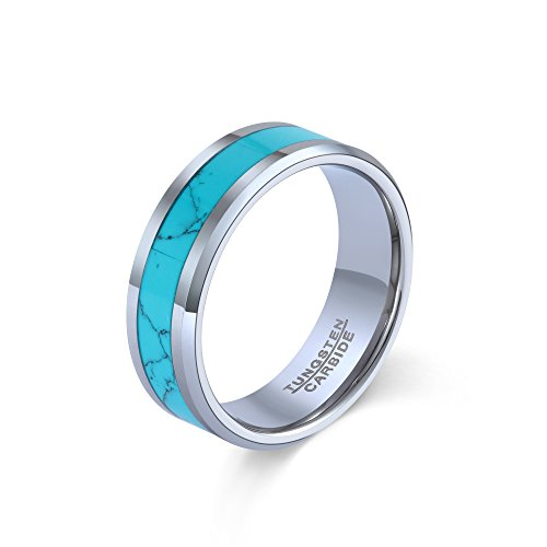 POYA Men's 8mm Turquoise Tungsten Carbide High Polished Wedding Band Rings (10)