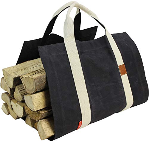 INNO STAGE Heavy Duty Firewood Carrier, Waxed Canvas Log Holder with Double Cotton Straps Both Front and Back, Super Strong Fire Wood Tote Bag for Fireplace