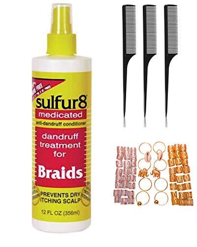 Sulfur 8 Braid Spray 12oz (Including 3 pc Rat Tail Comb Set & 56 Piece Hair Accessories Jewelry Dreadlocks Beads Hair Braiding Rings Pendant Charms) Sulfur 8 Anti-Dandruff Hair Accessory Kit