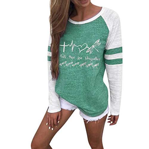 [해외]Meikosks Women`s Stripe Patchwork Long Sleeve T Shirt Fashion Printing Tops Casual Sweatshirts / Meikosks Women`s Stripe Patchwork Long Sleeve T Shirt Fashion Printing Tops Casual Sweatshirts Green