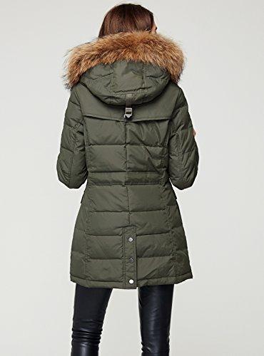 Escalier Women`s Down Coat With Raccoon Fur Hooded Winter Jacket Army Green XL by Escalier (Image #2)