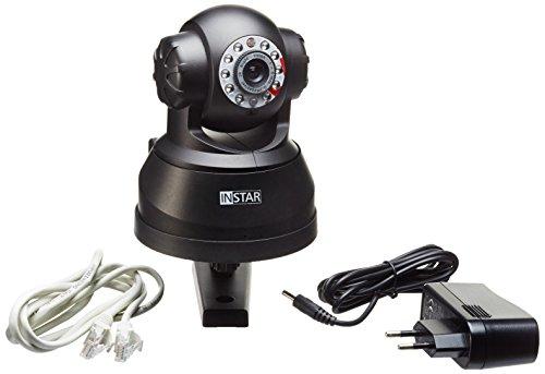INSTAR IN-3011 PoE Kamera / IP Sicherheitskamera / PoE Überwachungskamera / IP cam für Innen mit LAN, PoE 802.3af und steuerbar dank eingebauten Motoren (10 IR LED Infrarot Nachtsicht, optionalem Weitwinkel, Bewegungserkennung, Email Alarm, Push Mitteilung) schwarz