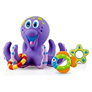 Nuby Octopus Hoopla Bathtime Fun Toys, Purple (Pack of 2)