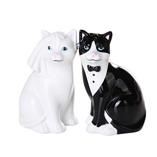Wedding Cats Magnetic Ceramic Salt and Pepper Shaker Set