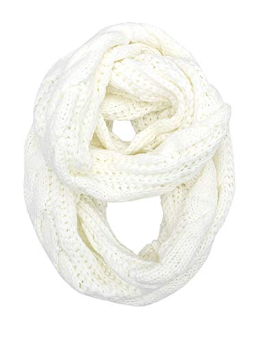 YOUR SMILE - Premium Women Ribbed Thick Winter Warm Cable Knit Infinity Circle Loop Cowl Scarf,Ivory