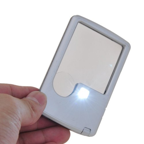 3X 6X LED Illuminated Magnifier Card Shaped Reading Magnifying Glass, Silver Lighted Wallet Magnifier