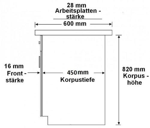 K/üchenblock variabel stellbar in Ahorn Natur Holznachbildung K/üche Dominika 240 cm K/üchenzeile