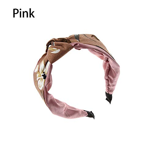 Measurement Smart Bookmarks - Wash Cross Twist Headband Women Floral Headband Retro Turban Knot Hair Hoop (Color - pink)