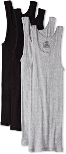 Hanes Ultimate Men's 4-Pack A-Shirt, Black/Grey, Large