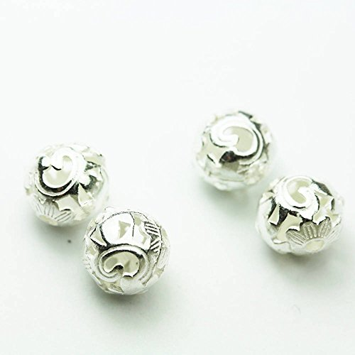 g Silver Jewellery findings Filigree Ball Beads ,8mm round, hole1.5mm - FDSSB0505 ()