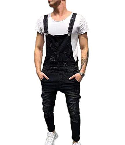 Da Di Jeans Uomo Nero Con Tuta Salopette Moda Strappati Jeans wqURHw