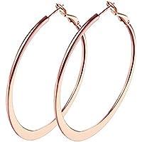 "2"" fashion earrings hoops, 18k Rose Gold Plated Hoop Earrings for Womens sensitive ears"