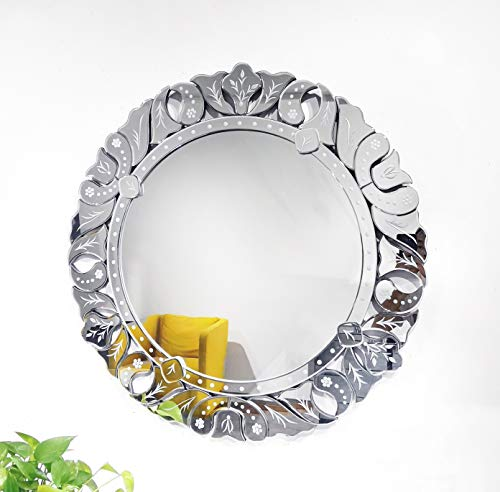 Wall Mirror with a Silver Backed Mirrored Glass Panel Best for Vanity, Bedroom, or Bathroom (31.5