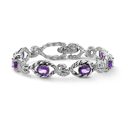 (Carolyn Pollack Sterling Silver Purple Amethyst Gemstone Link Bracelet - Medium)