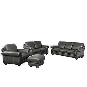 amazon com abbyson living austin 4 piece leather sofa set