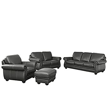 Incredible Amazon Com Abbyson Austin 4 Piece Leather Sofa Set In Gray Machost Co Dining Chair Design Ideas Machostcouk