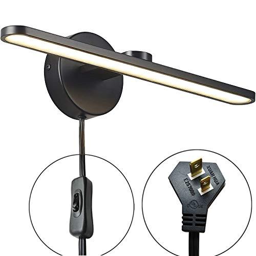 MantoLite LED Wall Light, 15inch Aluminum Frame Picture Lighting, Plug-in Bathroom Mirror Lamp,11W 880LM CRI90 3000K Warm White Black Finish ()
