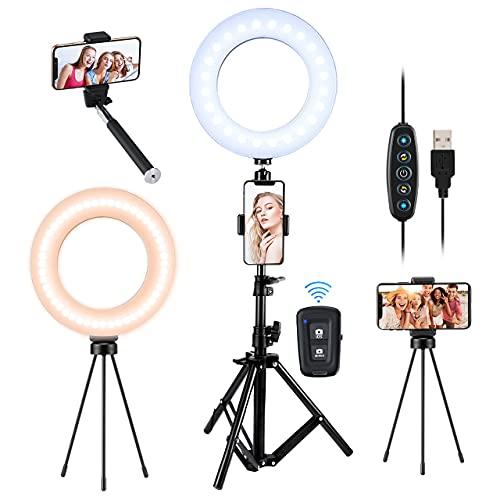 Selfie Ring Light Tripod Kit, Desktop LED Ringlight with Tripod Stand & Phone Holder & Remote Control & Selfie Stick, 5 Light Modes/6 Brightness Levels for Makeup Camera YouTube Video Conference