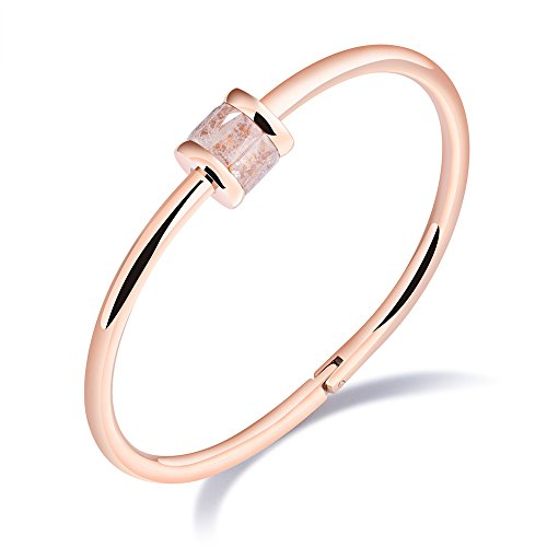 Lefeng Titanium Stainless Steel Cuff Bangle Rose Gold with Colorful Crystal for In A Box (Light ()